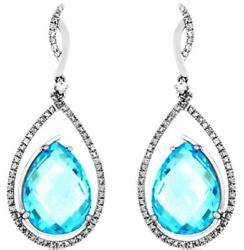 Large 21.54ct Diamond And Aaa Blue Topaz 14k White Gold Tear Drop Hanging Earrings