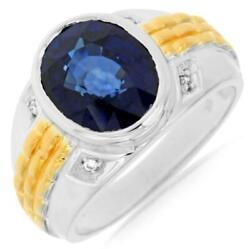 Large 7.55ct Diamond And Aaa Sapphire 14k 2 Tone Gold Oval And Round Bezel Mens Ring