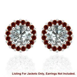 Red Diamond Earring Jackets For 8 Mm 4 Total Carat Weight 14k White Gold