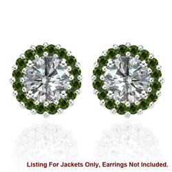 Green Diamond Earring Jackets For 6.75 Mm 2.5 Total Carat Weight 14k White Gold