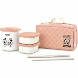 Mickey And Minnie Thermos Insulated Lunch Box Beige Pink Cute New From Japan