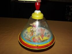 Vintage Baby Child Toy Game Walt Disney Metal/plastic Spinning Top