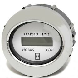 Faria Boat Hour Meter Gauge Mh0203a | Digital 2 Inch Silver White