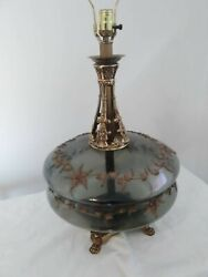 Vintage Glass Table Lamp -gray Glass With Flower Emblem -pair
