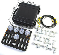 Hydraulic Pressure Gauges Kit With 5 Gauge 3 Test Hose And 24 Coupling Test Kit