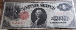 1917 Series 1 One Dollar Red Seal Large Size Currency Note Bill. Very Nice