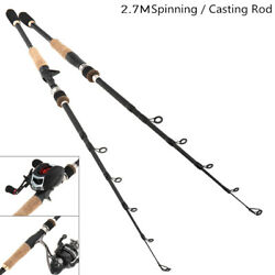 2.7m Simulation Wood Grain 7 Section Carbon Fiber Spinning Casting Fishing Pole