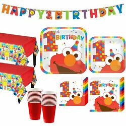 Party City Elmo 1st Birthday Party Kit Include Plates Napkins Table Covers