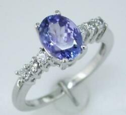 1.54ct Diamond And Aaa Tanzanite 14kt White Gold 3d Oval And Round Engagement Ring