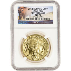 2013 American Gold Buffalo 1 Oz 50 - Ngc Ms70 First Releases Buffalo Label