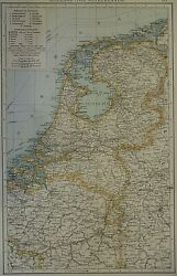 Vintage 1900 Atlas Map Holland - The Netherlands Old And Authentic Free Sandh