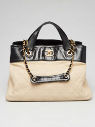 Black/beige Quilted Leather In-the-mix Small Tote Bag