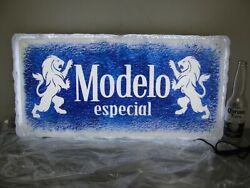 Modelo Especial Beer Ice Block 🧊 Lighted Led Sign Blue Bar Mancave New In Box