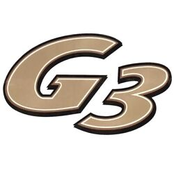 G3 Boat Brand Decal 144371-02 | Gold, Off White, Black 12 X 7 1/4 Inch