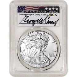 2019 W American Silver Eagle Burnished - Pcgs Sp70 General Casey Signed Label