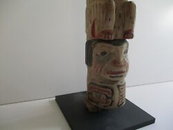 Vintage Antique Native American Indian Wood Carving Painting Statue Totem Rare