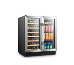 30 In. 33-bottle 70-can Stainless Steel Dual Zone Combo Wine And Beverage
