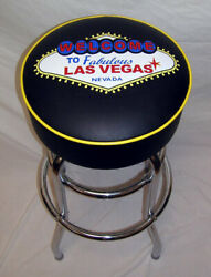 Welcome To Las Vegas Neon Sign Black Bar Stool Stools With Yellow Piping - New
