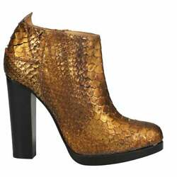 Lucchese Gold Python Pull On Womens Western Cowboy Dress Boots Mid Calf Low