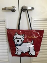 Marc Tetro Westie Large Zip Tote red bag Dog West Highland Terrier $27.88