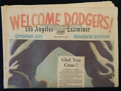 Los Angeles Examiner April 18, 1958 Welcome Dodgers Opening Day Souvenir Paper
