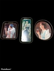 Vintage Coke Coca Cola Metal Tray Oval 1970and039s Girl Holding Lot 3