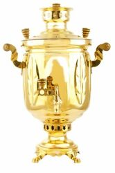 Charcoal Authentic Old Russian Samovar | 5l | Country Bank Maple Leaf, Brass
