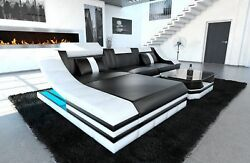 Sofa Corner Modern Turino L Shape Leather Couch With Led Black White Ottoman