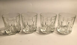 Set 4 Vintage Crown Royal On-the-rocks Clear Glasses Diamond Cut Italy 25