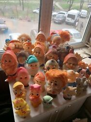 Vintage Authentic Doll Lot Of 35 Soviet Russian Rubber Toy Ussr Made In Ussr