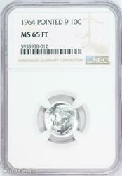 1964 Pointed 9 Roosevelt Silver Dime Ngc Ms65 Ft Fb B6-938-012