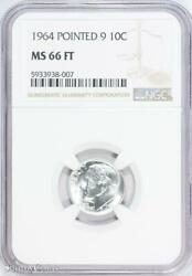 1964 Pointed 9 Roosevelt Silver Dime Ngc Ms66 Ft Fb B6-938-007