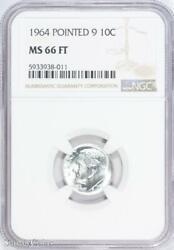 1964 Pointed 9 Roosevelt Silver Dime Ngc Ms66 Ft Fb B6-938-011
