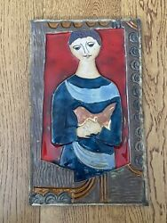 J Ruth Faktor Ceramic Pottery Tile Art. Girl With A Dove. Israel. 14x9