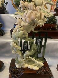12 Inch Natural Color Dushan Jade Handcarved Beautiful Flower Ginseng Statue