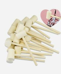 18pcs Mini Wooden Hammer For Chocolate Breakable Heart Wood Crab Mallet New