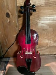 """Stained Glass Handmade Bedside Lamp Ac100v Violin Woodland Brown"""" From Japan"""