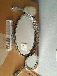 Vintage Silver Comb Mirror Brush And Tray Set