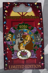 2020 Disney Parks Lady And The Tramp Pop Century Happy Holidays Wreath Le Pin