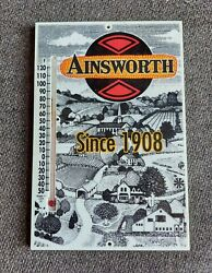 Vintage Advertising Ainsworth Hybrid Seed Feed Corn Farm Row Thermometer Sign