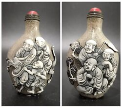 Collections Old Beijing Chinese Snuff Bottle Carved Glass Statue Antique Carving