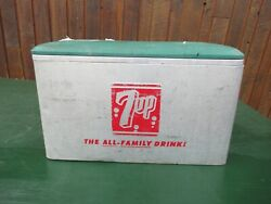 Vintage 7 Up 7up Cooler Chest W/ Lid Drink Cola Soda Picnic Ice Chest