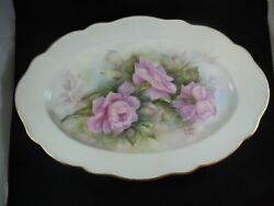Hutschenreuther Germany Artist Signed Heather Bailey Rose Plate Gold Trim