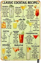 Vintage Metal Tin Sign Classic Cocktail Recipes Drink List Poster Home Bar Decor