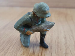 Rare Prewar Lineol German Wehrmacht Soldier With Grenade Shell On Knees -wwii-
