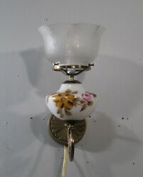 Vintage Bronze Sconces Gas Light Wall Hand Painted Shades 2 Available