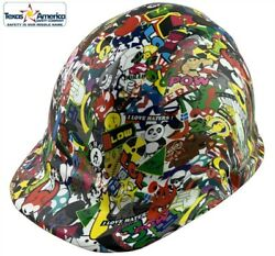 Sticker Bomb 5 Hydro Dipped Cap Style Hard Hat With Ratchet Suspension