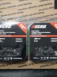 2 Pack Echo 18, 3/8 Low Profile Pitch, .050 Gauge Saw Chain 91px62cq