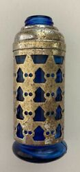 Cobalt Blue Glass Poison Bottle, With Silver Decorative Metal Sleeve. Unusual