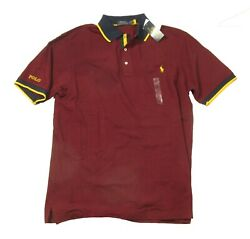 Polo Big And Tall Menand039s Red Burgundy Mesh Short Sleeve Polo Shirt
